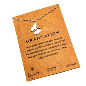 Silver Butterfly Charm & Graduation Card